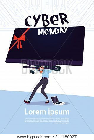 Cyber Monday Sale Poster With Man Holding Big Tv Plasma Over White Background, Template Banner With Copy Space Design Vector Illustration