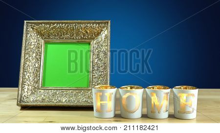 Photo Frames In Elegant Interiors Display.