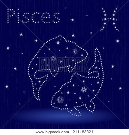 Zodiac Sign Pisces With Snowflakes