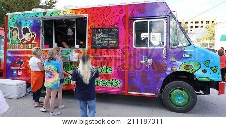 Fort WorthTexas Oct.21 2017 Food truck at the trendy area of South side also called the Magnolia area in Forth WorthTexas.