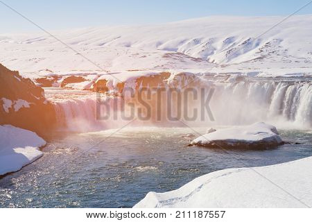 Godafoss waterfall in winter seasson Iceland natural landscape background