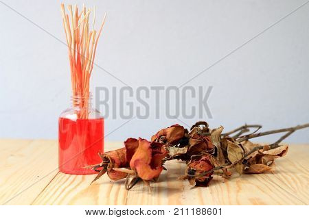 Hand Made Pf Fragrance Diffuser Set: Bottle With Aroma Sticks And Dry Red Rose (reed Diffusers), A S