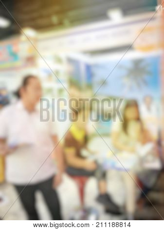 Abstract Blurred Image Of People Sitting In Conference Room For Profession Seminar With Attendee, Pr