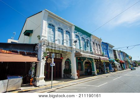 PHUKET THAILAND -October 19 2017 Phuket town Thailand: Phuket old town with old buildings in Sino Portuguese style restoration is a very famous tourist destination of Phuket.