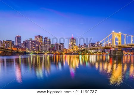 Pittsburgh, Pennsylvania, USA city skyline on the river.