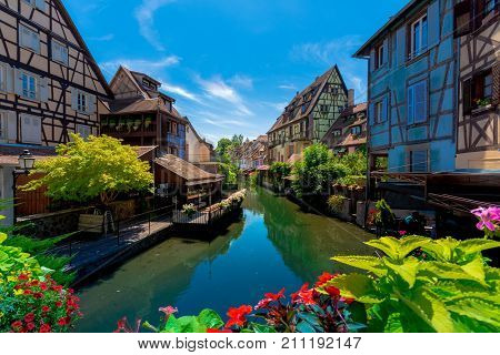 Beautiful view of the historic town of Colmar, also known as Little Venice, with traditional colorful houses on idyllic river Lauch in summer, Colmar, Alsace, France