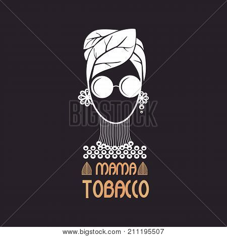 Logo girl with glasses on the head of a tobacco leaf instead of a hat.