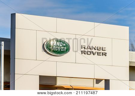 Northampton, UK - Oct 25, 2017: Day view of Land Rover Range Rover logo at Riverside Retail Park.