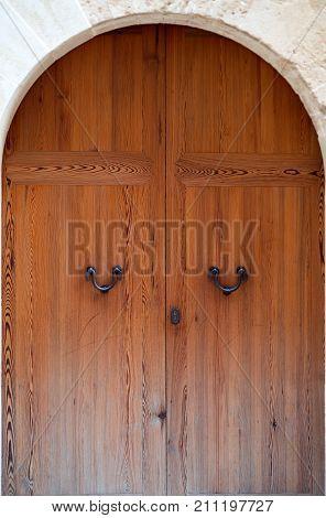 Luxury old wooden door in Europe museum
