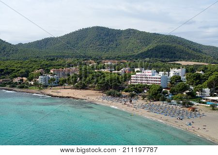 Top view of the beach and sea landscape