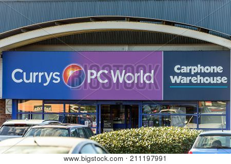 Northampton, UK - Oct 25, 2017: Day view of Currys PC World Carphone Warehouse logo at Riverside Retail Park.
