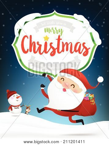 Merry Christmas text of white wooden frame with Happy santa claus cartoon snowman and reindeer and winter snow flake falling into snow floor and lighting over blue abstract background for winter celebration and christmas vector illustration