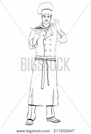 Cook Standing Front Side, Coloring, Vector Outline Portrait Male Chef Full-length, Black And White P