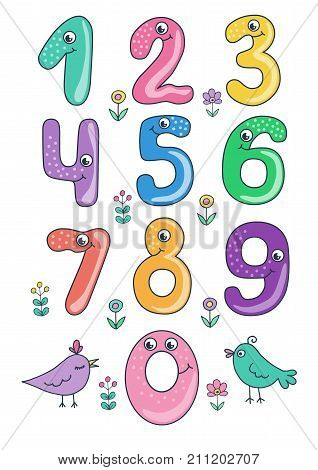 Set of cute and funny colorful smiling number characters from 0 to 9. Cartoon vector illustration on white background for children. Size A4.