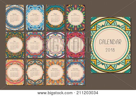 Calendar for 2018 for the whole year with colorful mandalas.