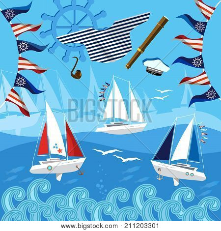 Yacht racing sailing regatta. Water sports Nautical school. Sea adventure. Sailing in the wind through the waves