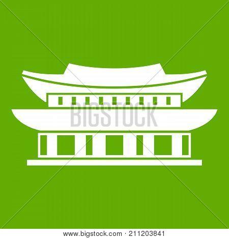 Gyeongbokgung palace, symbol of Seoul icon white isolated on green background. Vector illustration