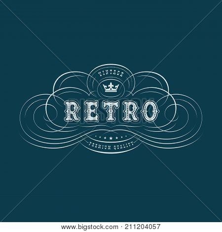 Vintage label design with flourish calligraphic elements and crown. Vector illustration.