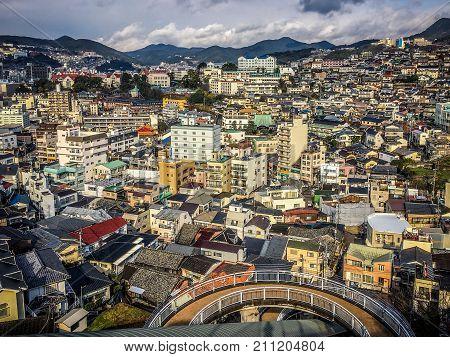 Aerial city landscape view of modern Nagasaki on Kyushu island Japan