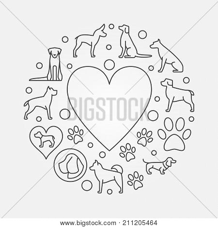 Dogs and heart round illustration - vector concept thin line circular symbol made with dog icons