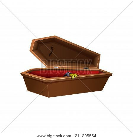 Cartoon wooden open coffin. Hand reaches out of the casket