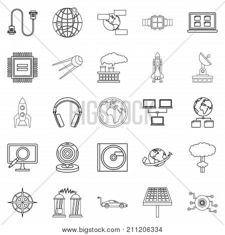 Advanced world icons set. Outline set of 25 advanced world vector icons for web isolated on white background