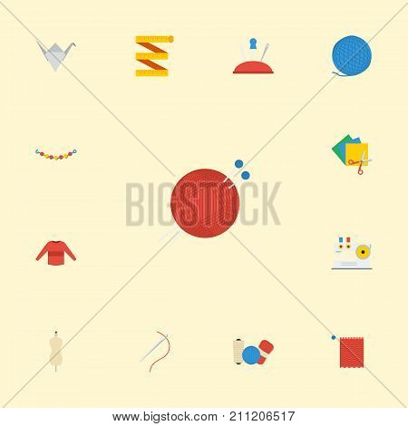 Flat Icons Meter, Scissors, Pincushion And Other Vector Elements