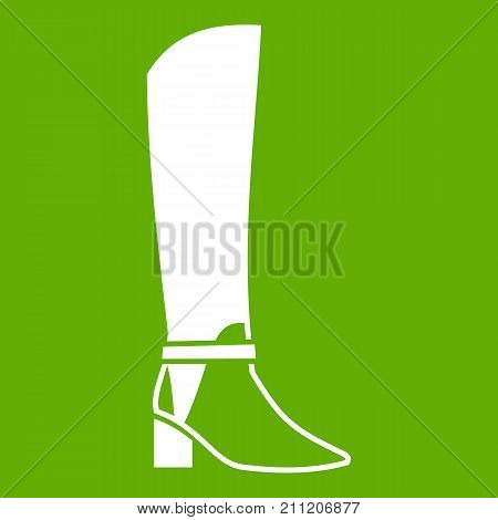 Women high boots icon white isolated on green background. Vector illustration
