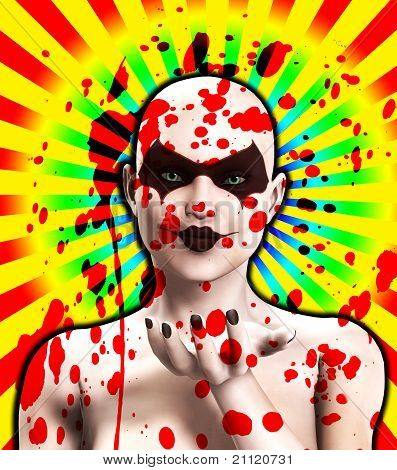 Blood Covered Psycho Female Clown Blowing A Kiss