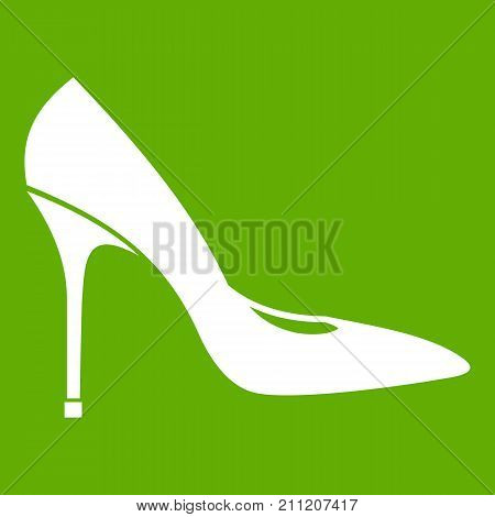 Women shoe with high heels icon white isolated on green background. Vector illustration