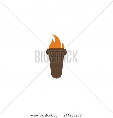 Flat Icon Torch Element. Vector Illustration Of Flat Icon Flame Isolated On Clean Background
