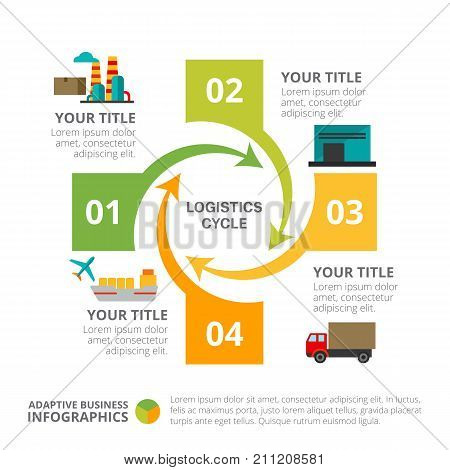 Cycle chart with four elements. Process chart, diagram, template. Creative concept for infographics, presentation, project. Can be used for topics like business, workflow, logistics.