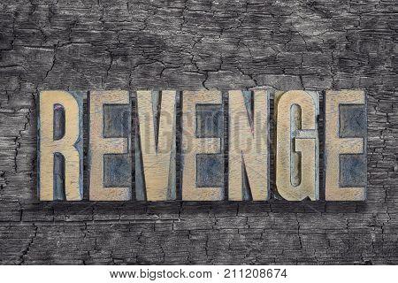 Revenge Word Burned Wood