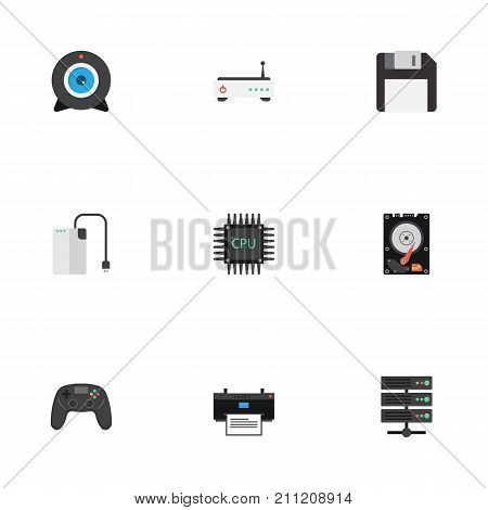 Flat Icons Web Cam, Printer, Diskette And Other Vector Elements