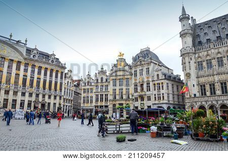 Brussels, Belgium - April 2015: Flower And Plant Market At Grand Place, Most Memorable Landmark Of B