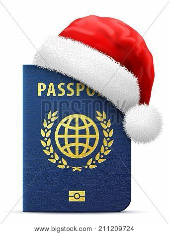 Blue passport in red Santa Claus hat. Christmas hat is put on international identification document. Best vector image for christmas travel new years day vacation winter holiday check-in