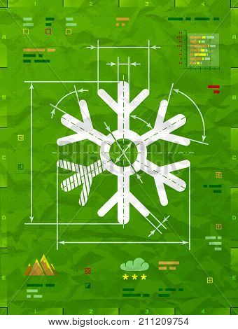 Snowflake symbol as technical blueprint drawing. Drafting of snow sign on crumpled paper. Vector image for new years day christmas weather winter holiday new years eve winter recreation