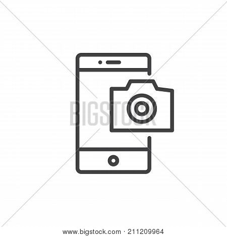 Mobile phone photography camera line icon, outline vector sign, linear style pictogram isolated on white. Smartphone camera symbol, logo illustration. Editable stroke