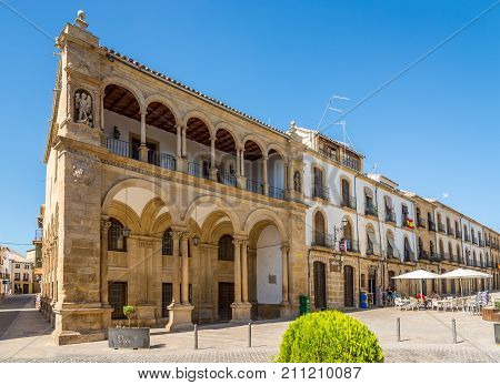 UBEDA,SPAIN - OCTOBER 2,2017 - Buildings at the Place of Primero de Mayo in Ubeda. Ubeda possesses 48 monuments and more of another hundred of buildings of interest almost all of them of Renaissance style.