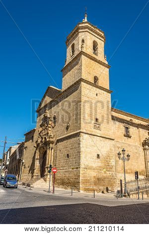 UBEDA,SPAIN - OCTOBER 2,2017 - View at the Holy Trinity church in Ubeda. Ubeda possesses 48 monuments and more of another hundred of buildings of interest almost all of them of Renaissance style.