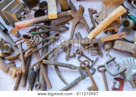 Old Rusty Tools For Sale At Bedouin Flea Market