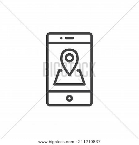 Smartphone with location pin line icon, outline vector sign, linear style pictogram isolated on white. Mobile phone GPS navigation symbol, logo illustration. Editable stroke