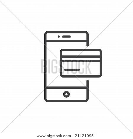 Smartphone with debit card line icon, outline vector sign, linear style pictogram isolated on white. Online payment with mobile phone symbol, logo illustration. Editable stroke