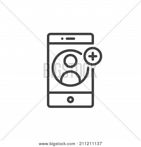 Smartphone with contact add on display line icon, outline vector sign, linear style pictogram isolated on white. Add user symbol, logo illustration. Editable stroke