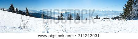 High mountain panorama, Alpine mountains in winter, European beautiful winter mountains, Panoramic view snowcapped mountains, Snowy mountain, European mountain panorama
