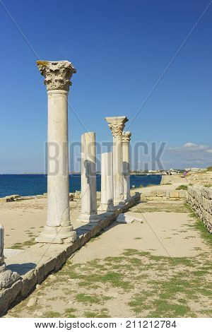 Ruined, Marble Columns Of Ancient Greek Basilica Of The Vi-x Centuries On The Shores Of The Black Se