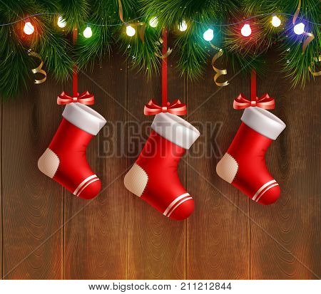 Three red christmas stockings hanging on fir twig at wooden wall background realistic vector Illustration