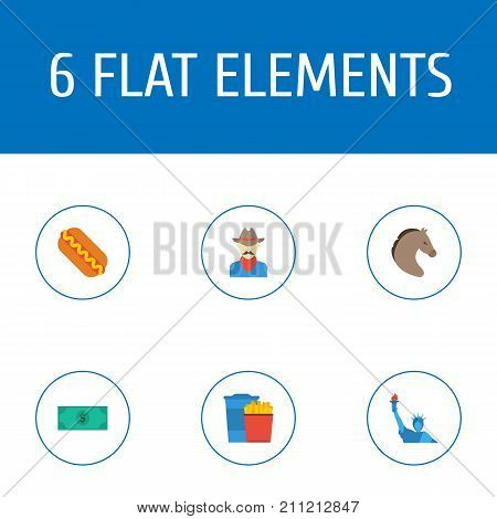 Flat Icons Western, Horse, Greenback And Other Vector Elements