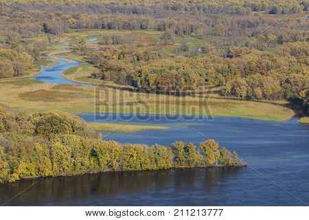 Mississippi River & Backwaters In Autumn - A river landscape.