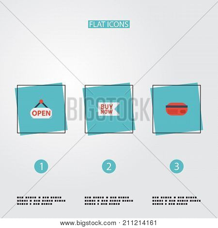Flat Icons Buy Now, Sign, Payment And Other Vector Elements